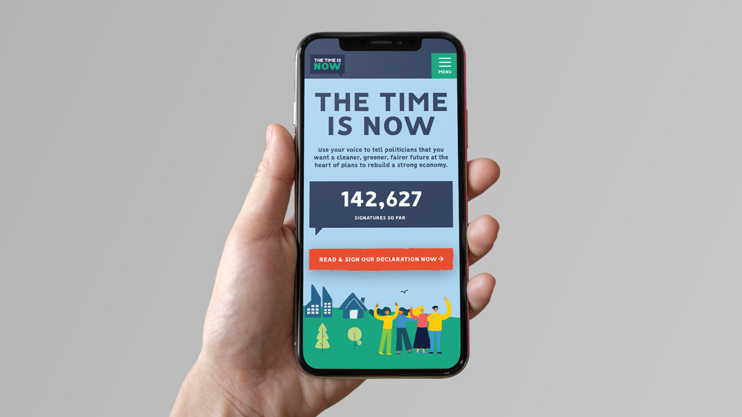 Image for The Time is Now website on an iPhone
