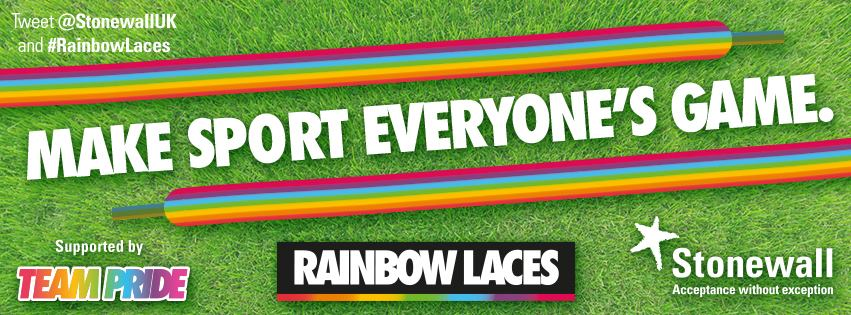 Stonewall charity promotional rainbow lace campaign image stating 'make sport everyone's game'